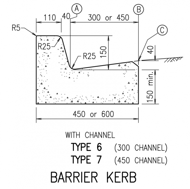 Barrier Kerb - Type 6,7