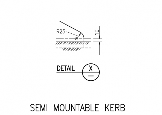 Semi Mountable Kerb - Detail X