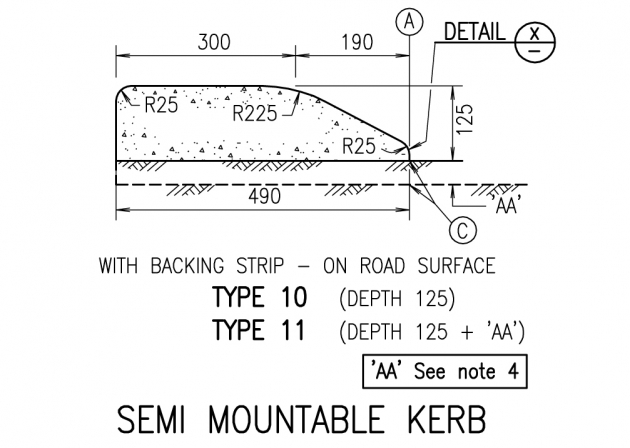 Semi Mountable Kerb - Type 10,11
