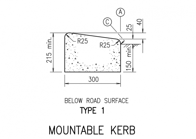 Mountable Kerb - Type 1