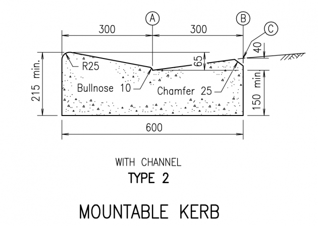 Mountable Kerb - Type 2