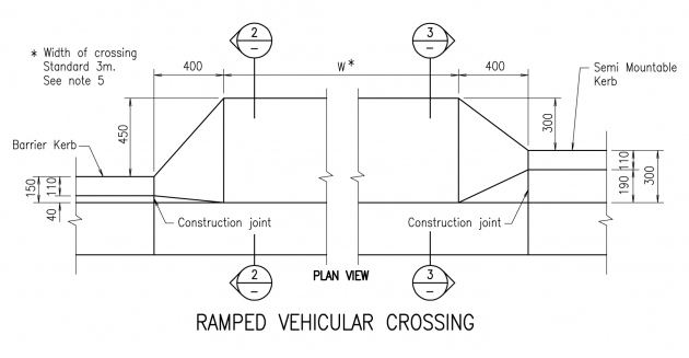 Ramped Vehicular Crossing