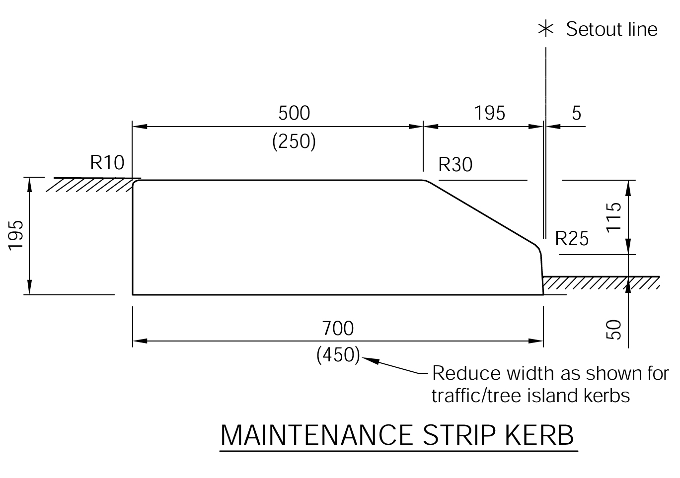 Maintenance Strip Kerb