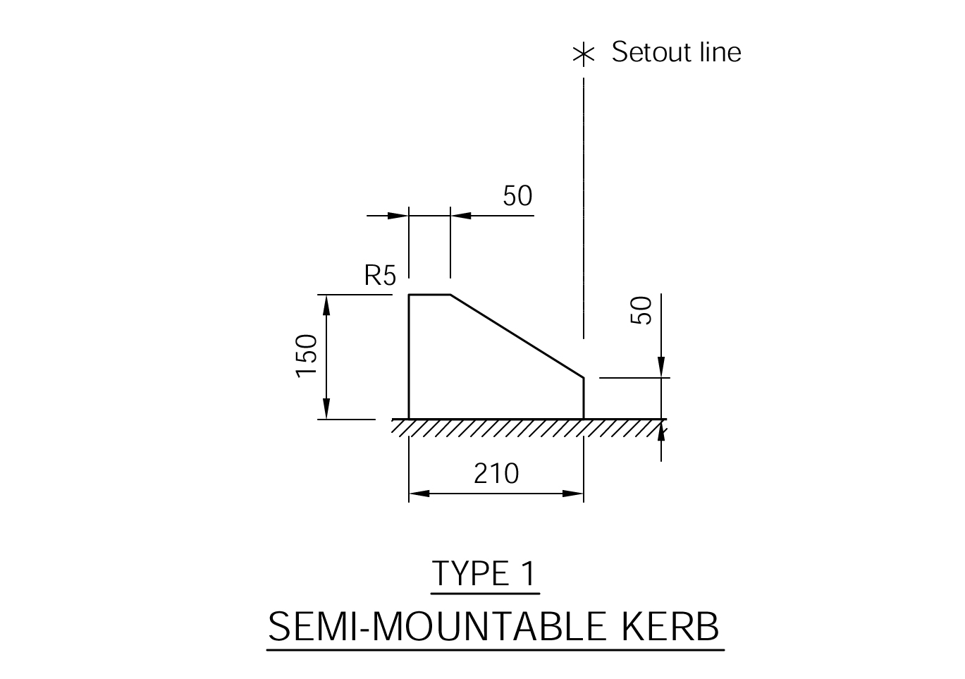 Semi Mountable Kerb - Type 1