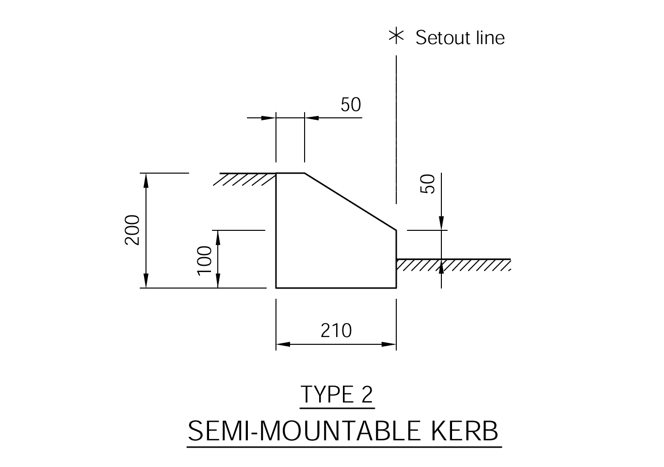 Semi Mountable Kerb - Type 2