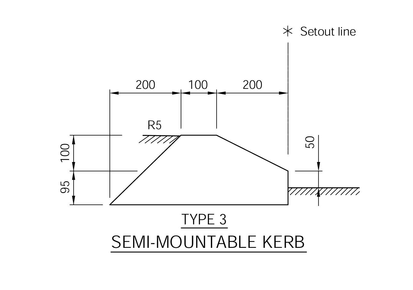 Semi Mountable Kerb - Type 3